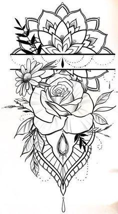Geometric Tattoo Wrist, Floral Mandala Tattoo, Floral Tattoo Design, Mandala Tattoo Design, Flower Tattoo Designs, Tattoos For Women Half Sleeve, Sleeve Tattoos, Leg Tattoos Women, Baby Tattoos