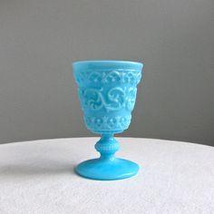 Blue Milk Glass Goblet...