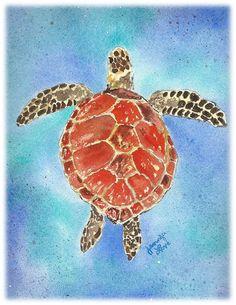 Items similar to Cards / Notecards - Set of 6 Jennifer Love Artwork Sea Turtles art notecard Assortment x - Brown Red Green on Etsy Sea Turtle Painting, Sea Turtle Art, Green Turtle, Turtle Love, Save The Sea Turtles, Turtle Jewelry, Sea Art, Marine Life, Sea Creatures