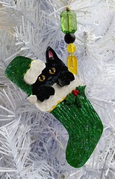 black kitten cat ornament cat stocking ornament gift box included hand made painted polymer clay i can add your cats name - Christmas Names For Cats