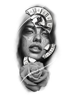 Girl Face Tattoo, Girl Tattoos, Tattoos For Women, Family Tattoo Designs, Family Tattoos, Tattoo Sketches, Tattoo Drawings, Realistic Tattoo Sleeve, Chicano Art Tattoos