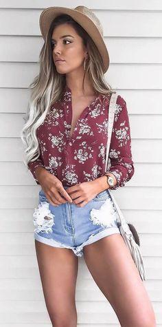 summer 2017 fashion trends: hat + shirt + shorts