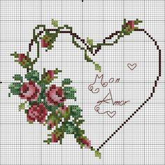no color chart available, just use the pattern chart as your color guide. or choose your own colors. Wedding Cross Stitch, Cross Stitch Heart, Cross Stitch Flowers, Counted Cross Stitch Patterns, Cross Stitch Designs, Embroidery Hearts, Cross Stitch Embroidery, Embroidery Patterns, Le Point