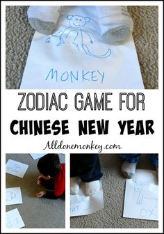 An active Chinese New Year game for kids to play to learn about the Chinese zodiac