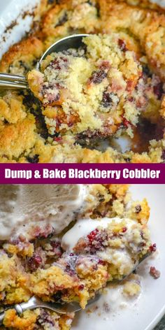 A traditional Southern Summer dessert you cant go wrong with adding your favorite fruit into a sweet cobbler. Quick easy and only 4 ingredients- this Dump & Bake Blackberry Cobbler is a budget friendly dessert that absolutely tastes gourmet. Blackberry Dump Cakes, Easy Blackberry Cobbler, Fruit Cobbler, Blackberry Dessert Recipes, Mixed Berry Cobbler, Cake Mix Cobbler, Strawberry Cobbler, Cake Candy, Dump Cake Recipes
