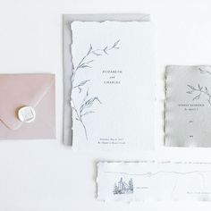 Custom wedding invitations / calligraphy / illustration / watercolor / foil / letterpress