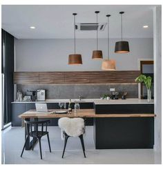 Kitchen Island And Table Combo, Modern Kitchen Island, Kitchen Island With Seating, Modern Kitchen Design, Interior Design Kitchen, Modern Kitchen Tables, Contemporary Kitchen Cabinets, Kitchen Dining Living, Home Decor Kitchen