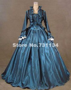 2014 Noble Blue Long Sleeve Medieval Civil War Victorian Dress Renaissance Gothic Victorian Ball Gowns