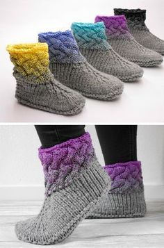 Knitting instructions for great wool slippers with Ombre effect / Knitting tutorial . - sybille fuchs - I episode Knitting instructions for great wool slippers with Ombre effect / Knitting tutorial . - sybille fuchs - I episode Alwa. Knitting Socks, Knitting Stitches, Knitting Needles, Knitting Patterns Free, Free Knitting, Loom Knitting, Stitch Patterns, Knitted Slippers, Crochet Slippers