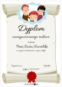 Dyplom dla zaangażowanego rodzica - Printoteka.pl Diy And Crafts, Place Cards, Place Card Holders, Education, School, Teaching, Onderwijs, Studying