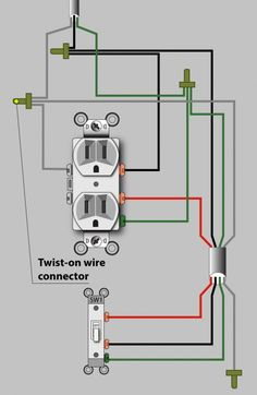 An Electrician Explains How to Wire a Switched (Half-Hot) Outlet - Vincent Diagram for a half-hot switched outlet that gets power in the outlet box (the preferred method). Basic Electrical Wiring, Electrical Projects, Electrical Installation, 3 Way Switch Wiring, Outlet Wiring, House Wiring, Home Fix, Diy Home Repair, Home Repairs