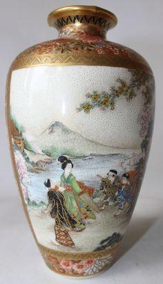 Satsuma Japan Japanese Pottery Vase Signed Marked Many Characters Meiji Period