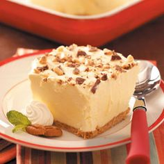 Butter Pecan Crunch ~. SUPER easy using instant vanilla pudding, cool whip & a qt of butter pecan ice cream. Throw in a graham cracker crust. Some crushed Heath Bars on top and freeze it, you have a yummy dessert!