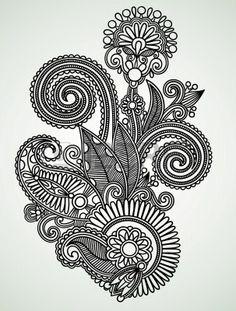 Hand draw vonalas ábrák díszes virág tervezési Stock fotó