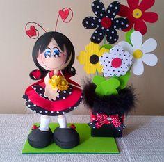 Fofucha Mariquita. Centros de Mesa. Fiesta estilo Ladybugs