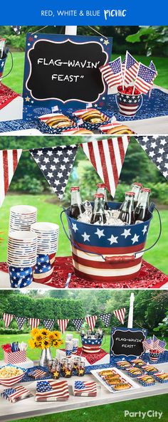 """Want to show off patriotic pride at your next picnic, BBQ or 4th of July party? Hang the grand ole flag outside your home and decorate with festive red, white and blue decor. Guests will know they've arrived at the right place once they spot your """"flag wavin' feast"""" with matching plates, cutlery and decor from Party City!"""