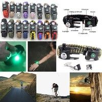 Wish | 20-in-1 Paracord Bracelet Compass SOS LED Light Bracelet Liftsaving Bracelet Embossed in Fire Starter,Whistle,LED Light,Tool Card,T-shaped Knife,Compass