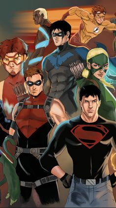 Wanted characters from Justice League, Teen Titans and Young Justice. Was inspired by the Marvel works of Marko Djurdevic. Was a real challenge fitting so many. Superboy Young Justice, Young Justice League, Artemis Young Justice, Young Justice Comic, Robin Starfire, Batwoman, Batgirl, Red Robin, Comic Manga
