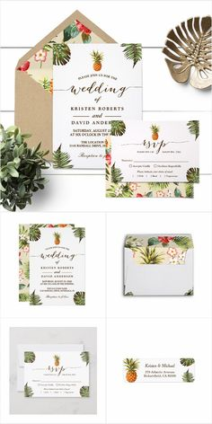 """This lovely """"Tropical Leaves Pineapple Luau Wedding Invitation Suite"""" is perfect for summer and destination weddings. Here we feature items from wedding invitation to RSVP Card, Bridal Shower Invitation, Envelope, Sticker and more for your tropical wedding. All of these items are easy to personalize with your wedding details and wordings. Luau Invitations, Wedding Invitation Trends, Mason Jar Wedding Invitations, Summer Wedding Invitations, Watercolor Wedding Invitations, Bridal Shower Invitations, Bridal Shower Signs, Bridal Shower Favors, Invitation Cards"""