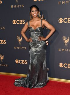 Laverne Cox wearing a Naeem Khan dress with Ruthie Davis shoes and jewels by Lorraine Schwartz and Ofira on the Emmys Red Carpet 2017.