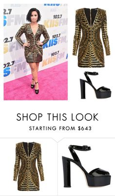 """""""With 1 Dress, Demi Lovato Clarms a spot in the Balmain Army"""" by aylinbagirova ❤ liked on Polyvore featuring Balmain and Giuseppe Zanotti"""