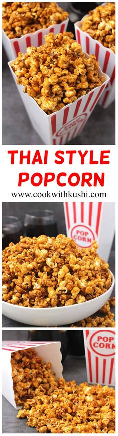 Thai Style Popcorn is an addictive snack with a perfect combination of flavors. It is crispy and crunchy with the right amount of sweet, sour, and spiciness. This snack is also vegan and gluten free. Popcorn could not get any better than this!  #vegansnacks #glutenfreesnacks #popcornrecipes #popcornseasoning #ketorecipes #padthai #thairecipes #thaistyle #summerrecipes #holidayrecipes #eveningsnacks #healthysnacks #kidssnacks #indiansnacks #popcorntime #movietimesnacks #partyfoodideas… Healthy Vegan Snacks, Vegan Breakfast Recipes, Easy Snacks, Healthy Sweets, Indian Food Recipes, Beef Recipes, Vegan Recipes, Popcorn Recipes, Popcorn Snacks