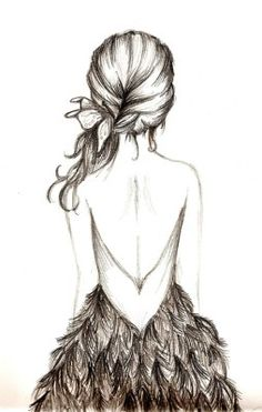i love the back of the dress!! and the feathers are kinda growing on me (: