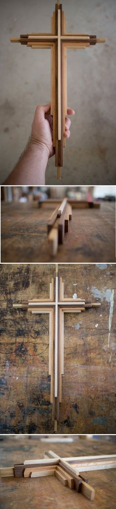 20 inch tall Wooden Cross.  This cross is handmade from three contrasting woods; Red Oak, Walnut and Rock Maple.    Handcrafted in Texas by DenneheyDesign.com