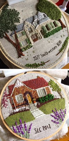 Embroidered houses by The Monster's Lounge #hoopart #embroidery #embroideryart