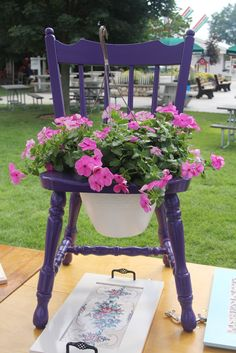Painted Chair Planter   Old chair planter and serving tray (made from painted cabinet door ...