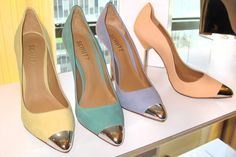 Resort Footwear Highlights: Cap-toes top off prim pumps with metal-plated stilettos at Schutz