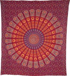 Orange Mandala Hippie Boho Bohemian Tapestry