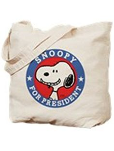 CafePress - Snoopy For President - Peanuts - Natural Canvas Tote Bag, Cloth Shopping Bag ❤ CafePress