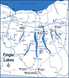 Finger Lakes Map.  The areas in white indicate snow.