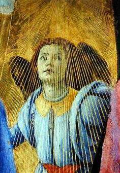 Sandro Botticelli . Angel . detail from 'Coronation of the Virgin' . Uffizi Gallery . Florene, Italy