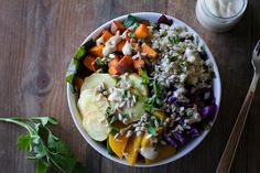 Roasted Root Vegetable Buddha Bowls with Maple Cinnamon Tahini Dressing