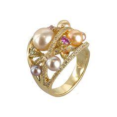 Image of Yvel - Pearl, Sapphire & Diamond Pastel Ring