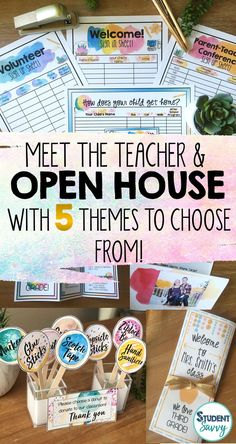 Back to School Night & Open House EDITABLE Pack! This resource contains forms, decorations, and essentials to have a successful Open House, Meet the Teacher Night or Curriculum Night! 5 different editable themes/styles are now included to choose from! Open House Forms, Preschool Open Houses, Preschool Prep, Preschool Ideas, Open House Night, Open House School, Parent Open House, Meet The Teacher Template, Curriculum Night