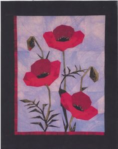 "Poppies - Foundation Paper Piecing Pattern - 21 1/2"" x 26 1/2"" Quilt - PaperPiecedQuilting.com"