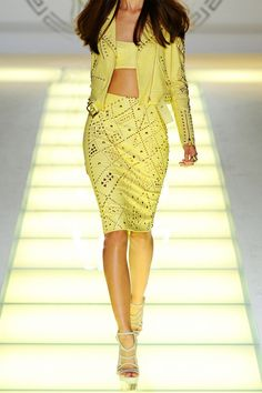 Versace Studded Leather Jacket and Skirt (a favourite repin of VIP Fashion Australia - providing a portal to exclusive fashion au and style from across the globe.  www.vipfashionaustralia.com - Specialising in blacklabel fashion - womens clothing Australia - global fashion houses - Italian fashion and fashion boutiques )