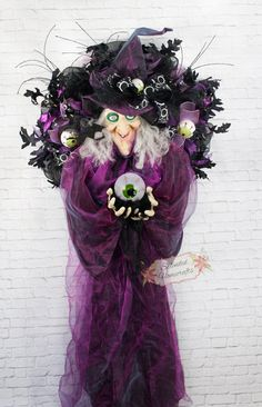 XL Light-up with Sound Witch Wreath Spooky by SplendidHomecrafts