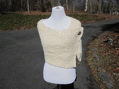 Cream Winter White Handmade Wrap Homespun Knit Shawl