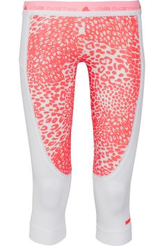 Adidas by Stella McCartney|Run mesh-trimmed animal-print stretch leggings|NET-A-PORTER.COM