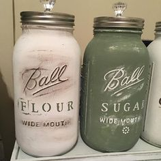 White Green Brown painted mason jars with crystal clear knob lid with handle flour container sugar holder kitchen decor storage kitchen set
