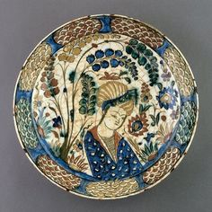Plate w/ Youth In Landscape Setting -- Early Century -- Iran -- Cincinnati Art Museum Ceramic Pottery, Pottery Art, Cincinnati Art, Calligraphy Art, Islamic Calligraphy, Antique Plates, Iranian Art, Historical Art, Wedding Art