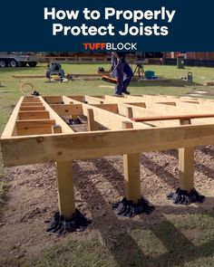 This is the only guide you need on how to properly protect your joist. This Floating Deck was made possible by using Tuffblocks. TuffBlocks have an ultra low profile of only 2 inchs from the ground to the base where the joist or post sits. If you want to know more about our product please click the video.