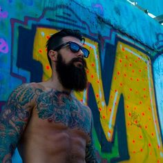 Dave Driskell full thick dark beard and mustache beards bearded man men mens' style hair undercut tattoos tattooed shirtless muscles muscular ripped fit