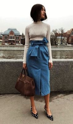 18e81f1d94 12 Best Outfits with Jean Skirt images | Denim skirts, Casual ...