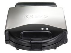 KRUPS 654-75 WaffleChef 4-Slice Belgian Waffle Maker with Nonstick Plates LED Indicators and Stainless Steel Housing, Silver for $45.61