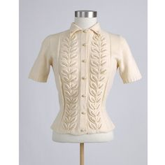 Pretty 1940s Cream Wool Sweater with Pearls by sweetairvintage, $56.00